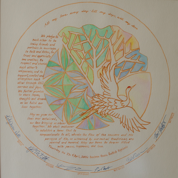 {Being back in ABQ means getting to see and live with favorite pieces of our life. This is our ketubah, the beautiful marriage contract we signed ten years ago. It was handpainted by my incredibly talented sister, Susan, and is one of our most beloved pieces of art.}