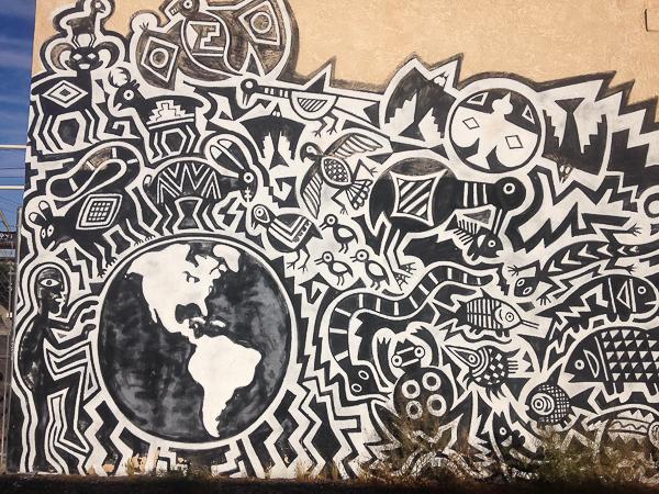 {Fun street art in the neighborhood.}