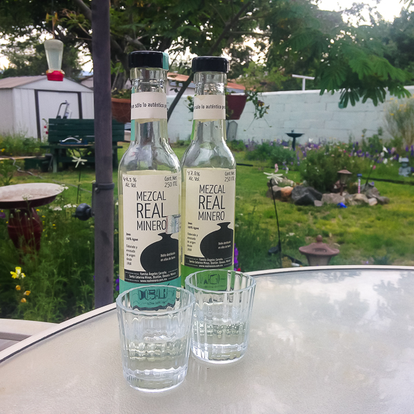 {Happy Hour, Watts' style - a little mezcal and my mom's garden in the early evening.}