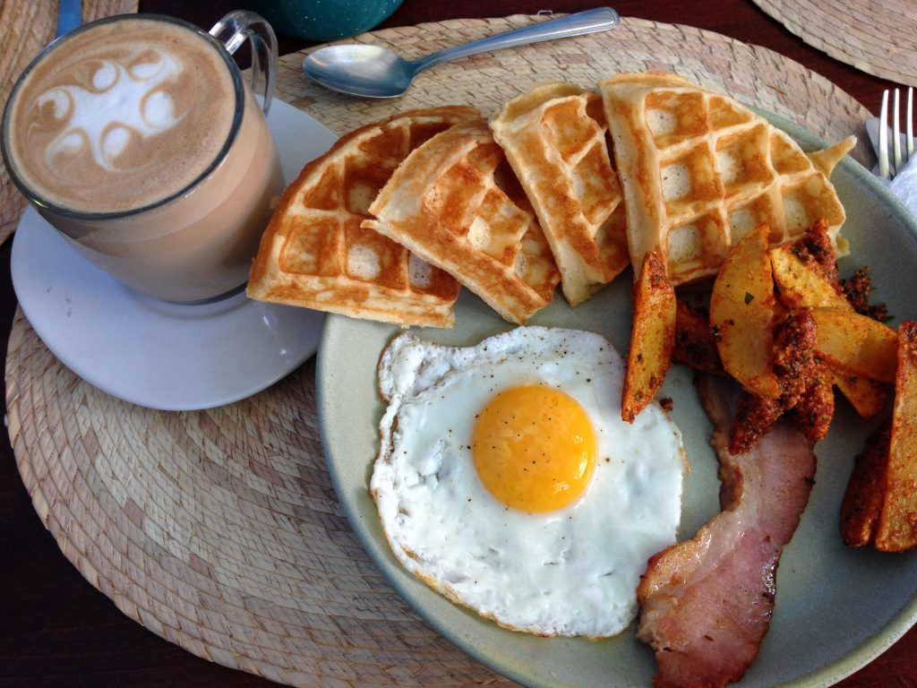 {My brunch at Pan AM. It's not always tamales and chilaquiles. They make my favorite sourdough waffles.}