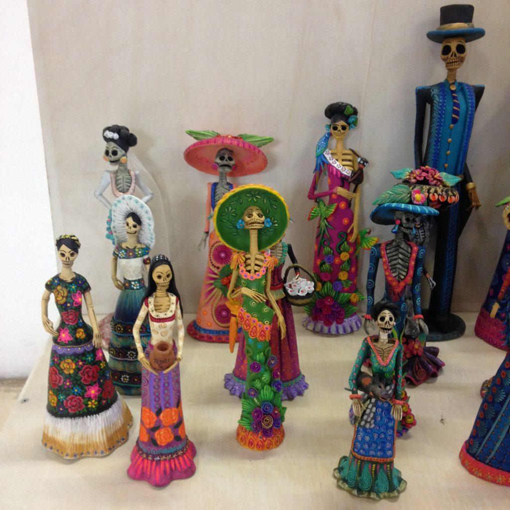 {Beautiful Dia de Muertos figures in one of the local galleries.}