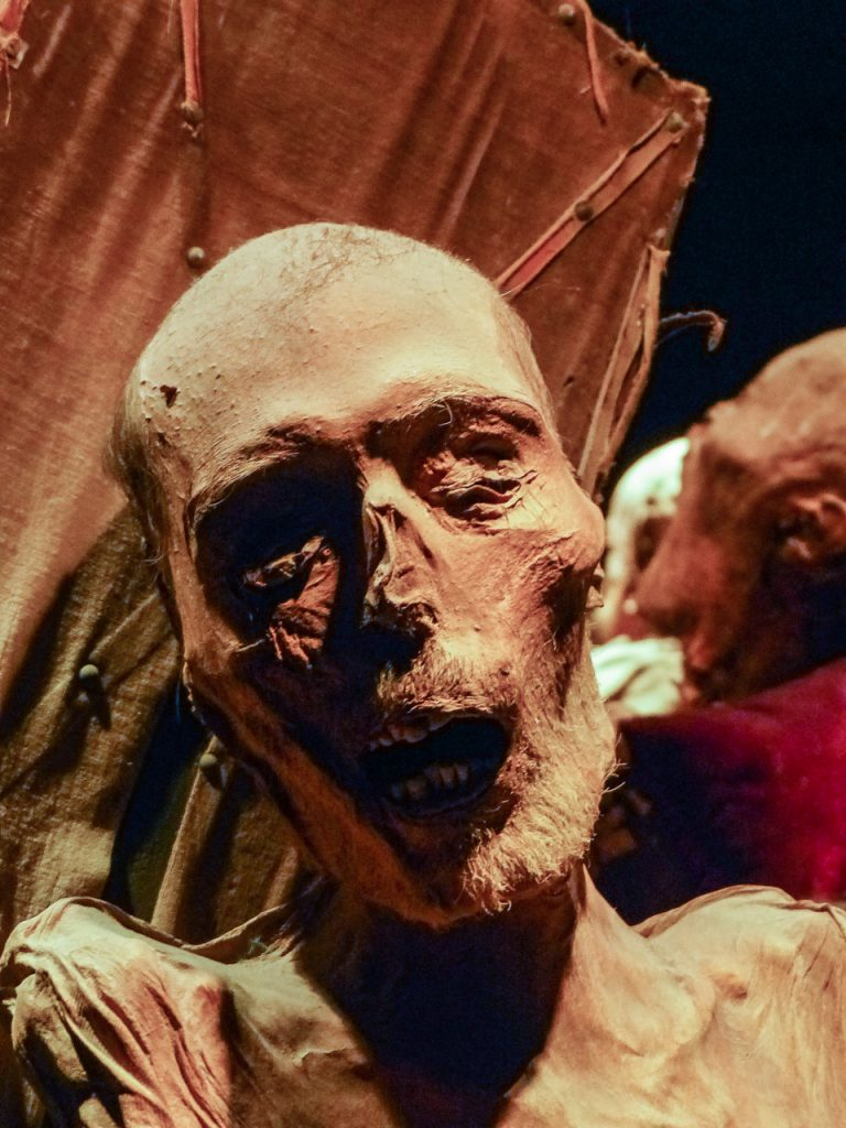 {Buried in 1903 and exhumed in 1910, {Juan Jaramillo is the best preserved of the mummies.}