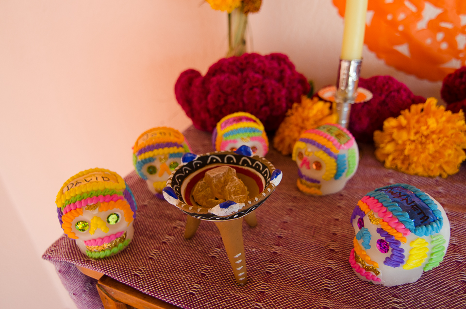 {Copal incense and sugar skulls for our Oaxacan family}