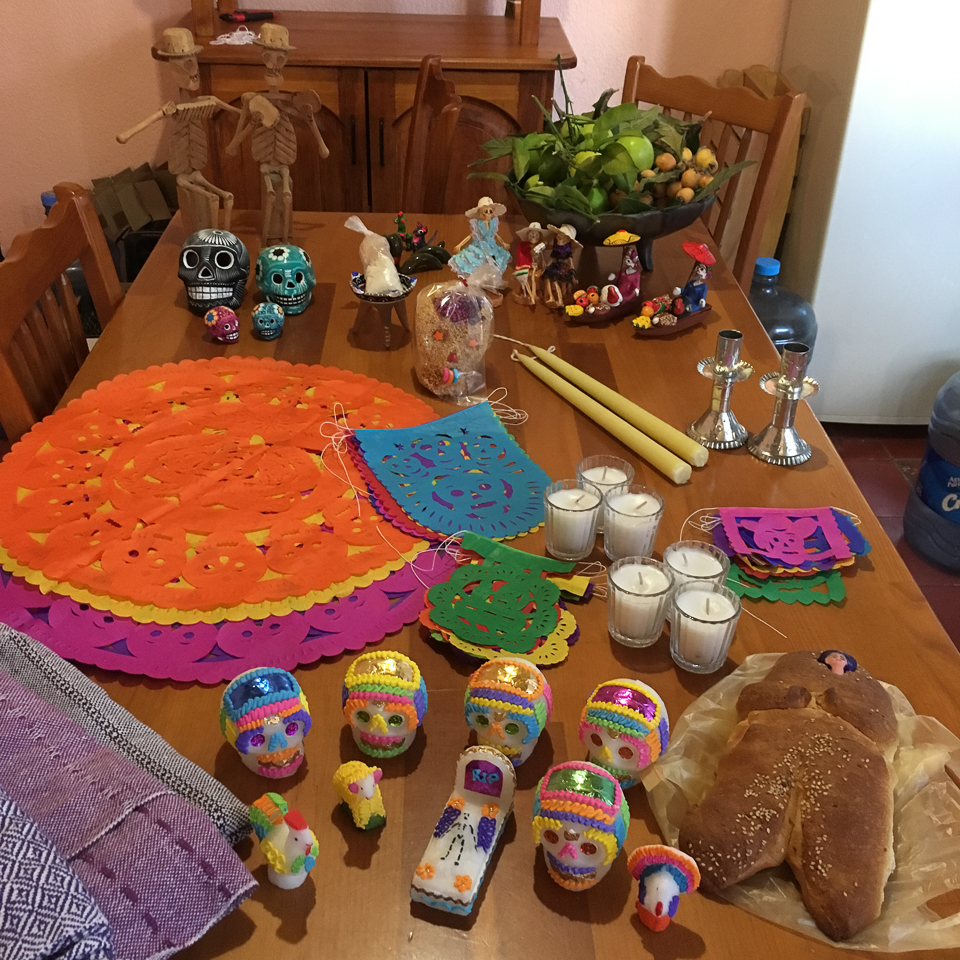 {Getting ready to build the ofrenda.}